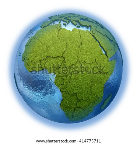 Africa on 3D model of planet Earth with grassy continents with embossed countries and blue ocean. 3D illustration isolated on white background.