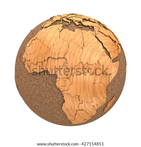 Africa on 3D model of wooden planet Earth with oceans made of cork and wooden continents with embossed countries. 3D illustration isolated on white background. - stock photo