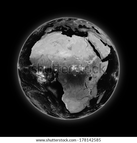 Africa on dark planet Earth isolated on black background. Highly detailed planet surface. Elements of this image furnished by NASA.