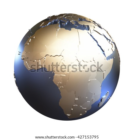 Africa on elegant metallic model of planet Earth with blue ocean and shiny embossed continents with visible country borders. 3D illustration isolated on white background.