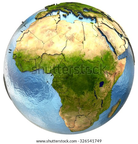 Africa on highly detailed planet Earth with embossed continents and country borders. Isolated on white background. Elements of this image furnished by NASA.