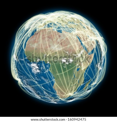 Africa on planet Earth with connections between cities and continents representing global airline networks. Elements of this image furnished by NASA - stock photo