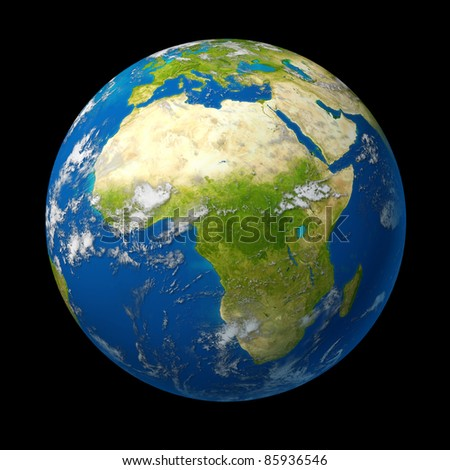 Africa on the globe featuring the middle east and south Africa and Northern African countries as Libya and Egypt as well as Zimbabwe and Angola surrounded by blue ocean. - stock photo
