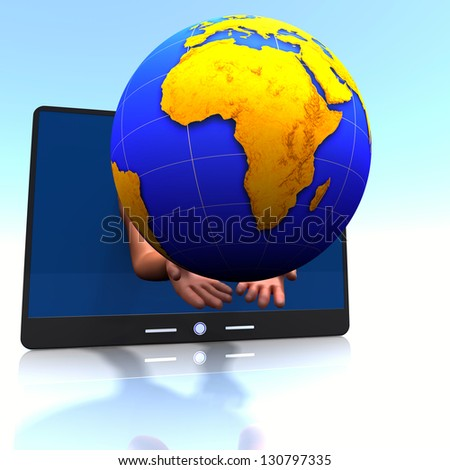 Africa,  pad, hands.  Concept of international communication.