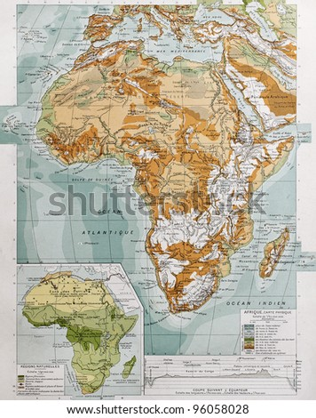 Africa physical map with natural zones insert map. By Paul Vidal de Lablache, Atlas Classique, Librerie Colin, Paris, 1894 (first edition) - stock photo