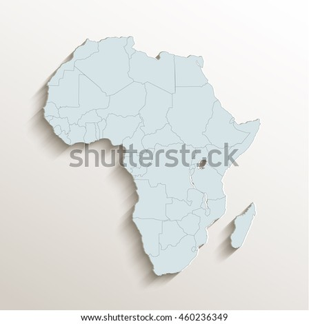Africa political map white blue 3D raster - stock photo