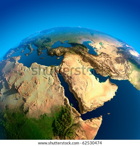 Africa, Red Sea, Persian Gulf, the view from the satellites - stock photo