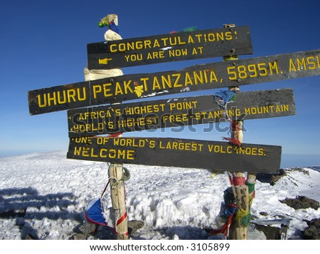 Africa's highest point. one of world's largest volcanoes