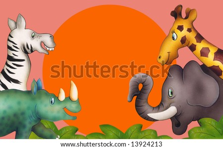 Africa / safari - silhouettes of wild animals in twilight - stock photo