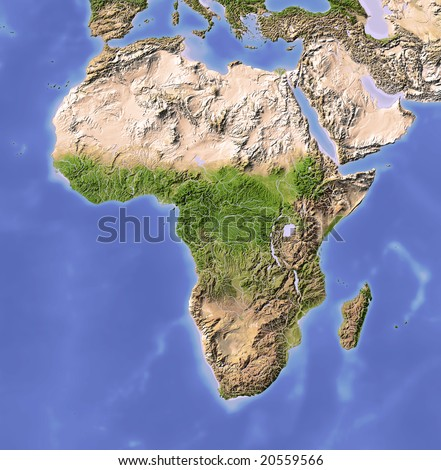 Africa. Shaded relief map. Colored according to vegetation. Projection Data source: NASA - stock photo