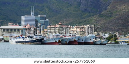 Africa, the Port Louis city in Mauritius Island - stock photo
