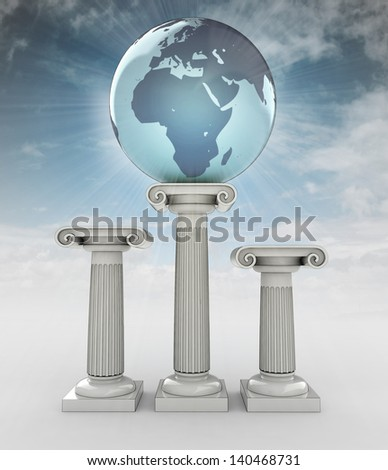 africa travel, earth globe on column in sky flare illustration - stock photo
