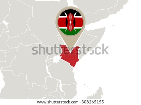 Africa with highlighted Kenya map and flag, Rasterized Copy - stock photo
