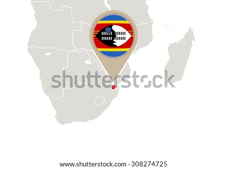 Africa with highlighted Swaziland map and flag, Rasterized Copy - stock photo