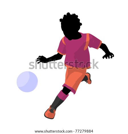 African ameircan female tween soccer player art illustration silhouette on a white background
