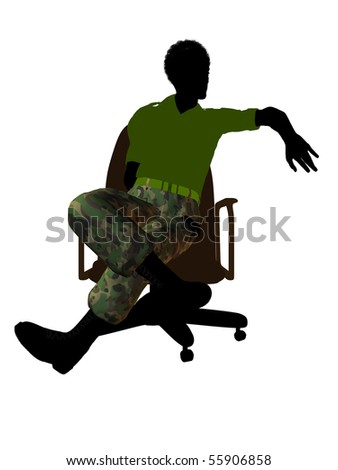 ... on an office chair silhouette on a white background - stock photo