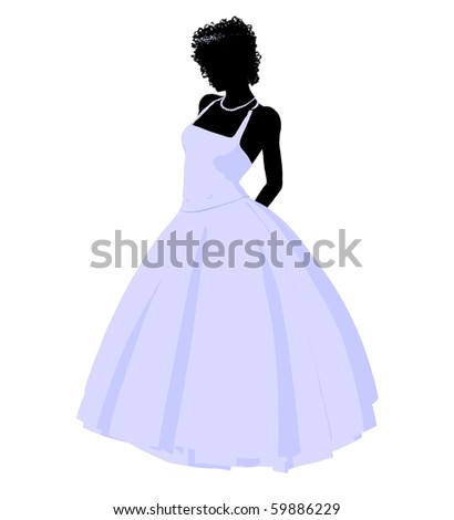 African ameircan woman in a wedding dress silhouette illustration on a white background - stock photo