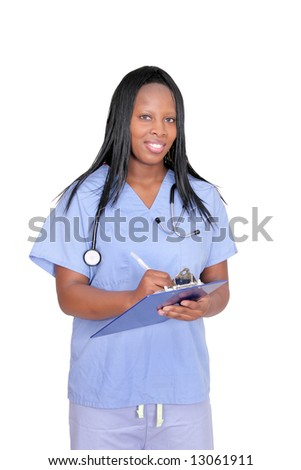 African American adult woman doctor over white holding a clipboard - stock photo