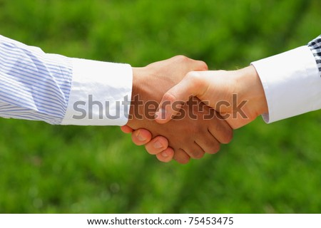 african american and European american men shaking hands with green grass on the background - stock photo