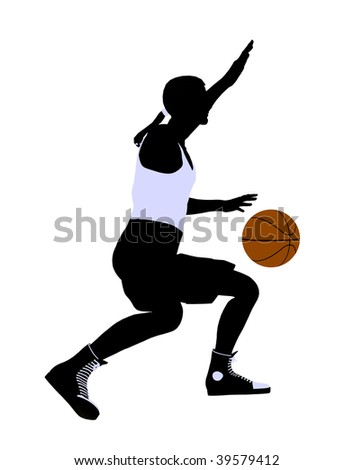 African American basketball player silhouette on a white background