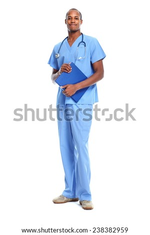 African-American black doctor man isolated white background. - stock photo