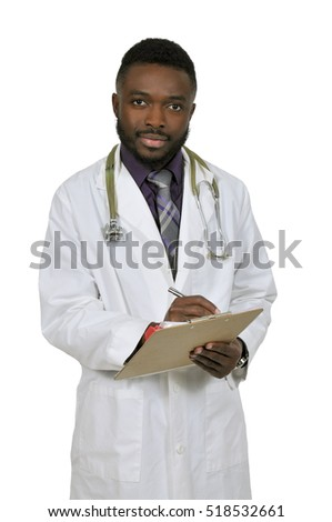 African American black man doctor holding a clipboard with a patient medical record chart