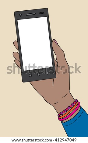 African american black skin female hand with smartphone. Raster illustration. - stock photo