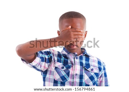 African American boy hiding eyes, isolated on white background  - Black people - stock photo