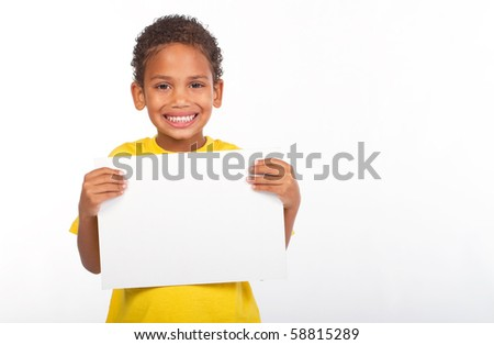 african american boy holding a white board - stock photo