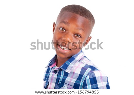 African American boy looking, isolated on white background - Black people - stock photo