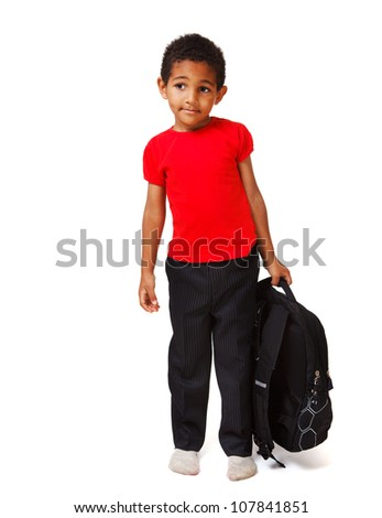 African american boy with a school backpack - stock photo