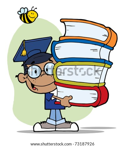 African American Boy With Books In Their Hands - stock photo