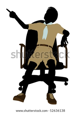 African american boyscout sitting in a chair silhouette dressed in shorts on a white background