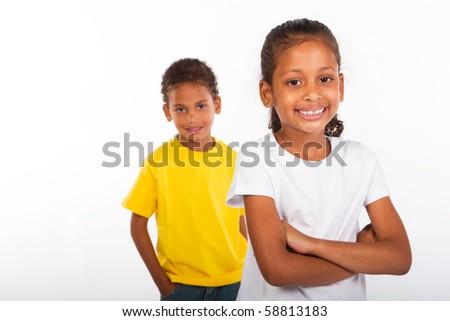 african american brother and sister together - stock photo
