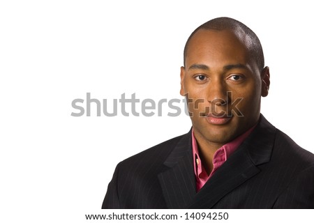 African American Business man close up with serious look on face.  On-white.