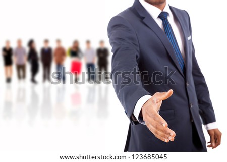 African American business man offering handshake over white background - stock photo