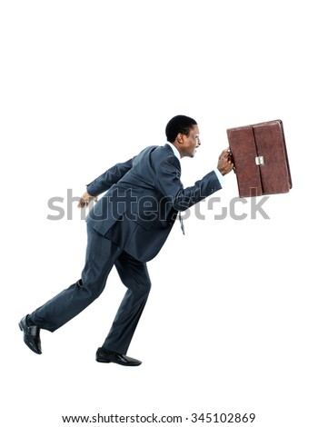 african american business man running - stock photo
