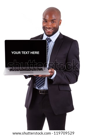 African American business man showing a laptopn screen, isolated on white background - stock photo