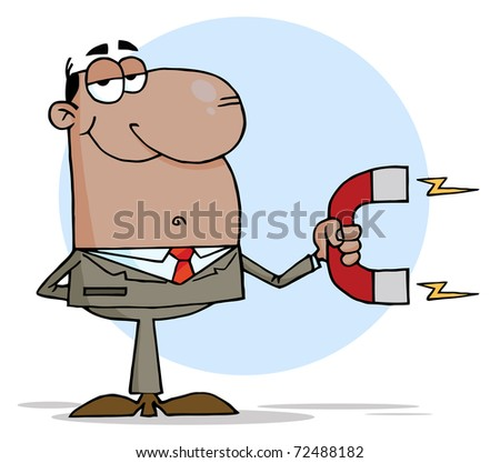 African American Business man Using A Magnet - stock photo