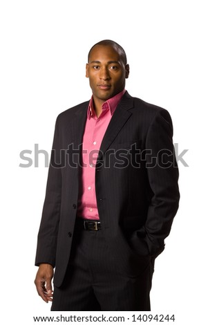 African American Business man with arms folded serious look on face.  On-white. - stock photo