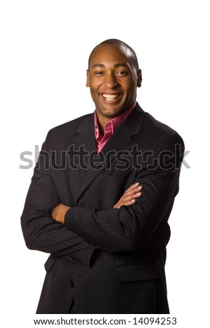 African American Business man with arms folded smile on face.  On-white.