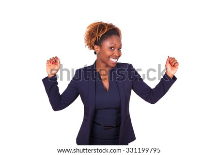 African American business woman celebrating, isolated on white background - stock photo