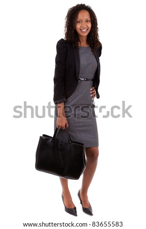 African american business woman holding  a handbag - stock photo