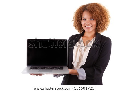 African American business woman holding a laptop, isolated on white background - Black people - stock photo