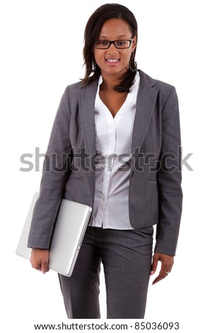 African american business woman holding a laptop, isolated over white background