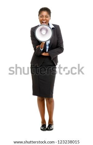 African American business woman holding megaphone isolated - stock photo