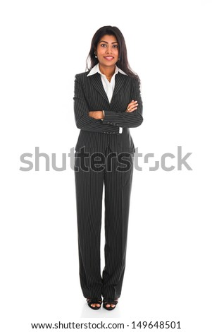 african american business woman isolated on white full body  - stock photo