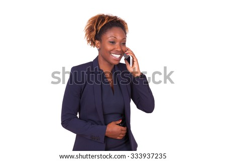 African American business woman making a phone call , isolated on white background - stock photo