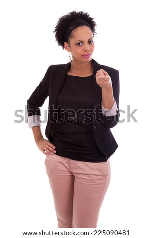 African american business woman pointing finger, isolated on white background - Black people - stock photo