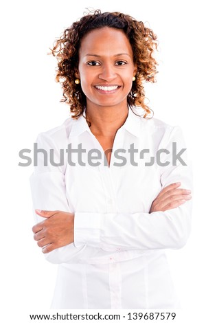 African American business woman smiling - isolated over a white background - stock photo